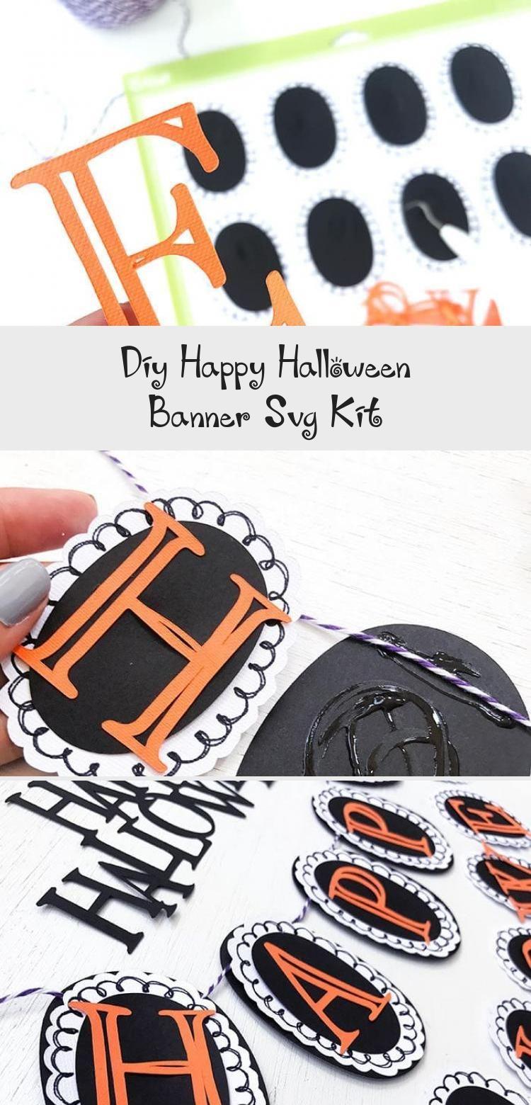 DIY Happy Halloween Banner SVG Kit - 100 Directions #bannerPasoAPaso #bannerKpop #Simplebanner #Ribbonbanner #bannerLetters #happyhalloweenschriftzug