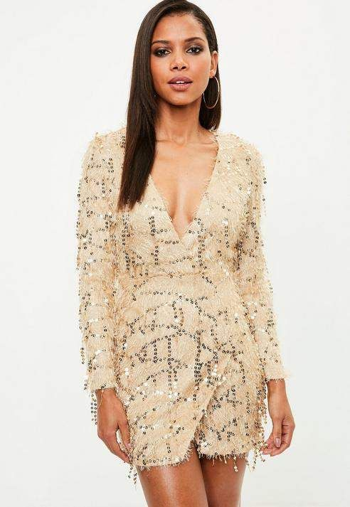 72f96563 Missguided Gold Tassel Sequin Plunge Bodycon Dress | Products ...