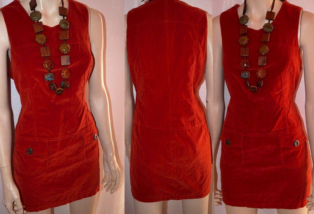 Oryginalna Sukienka Tunika Aksamit Ruda 42 44