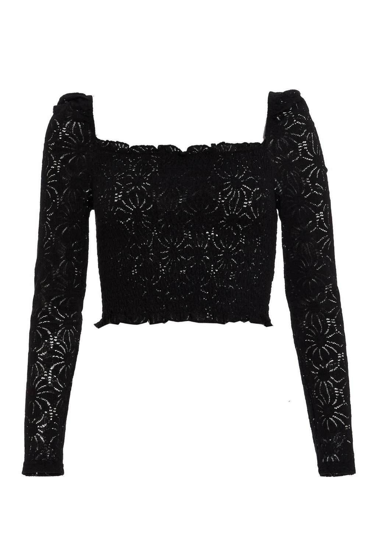 Black Crochet Square Neck Crop Top #blackcroptops