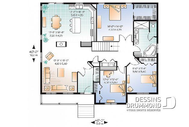 Rez-de-chaussée - Plain-pied 3 chambres, grande chambre maître avec