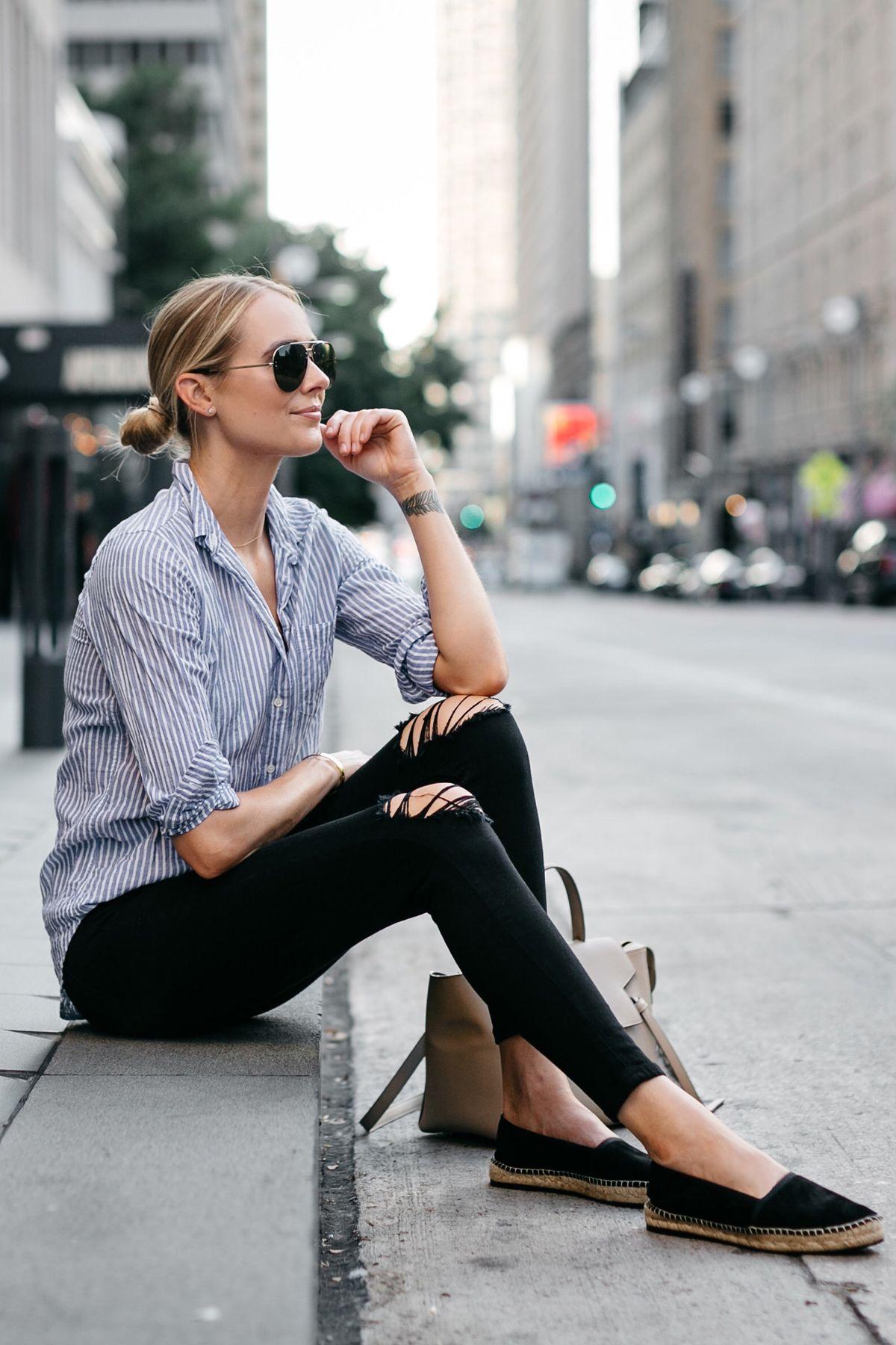 b0d8598f1a Blonde Woman Wearing Stuart Weitzman Black Espadrilles Blue White Stripe  Shirt Black Ripped Skinny Jeans Celine Aviator Sunglasses Fashion Jackson  Dallas ...