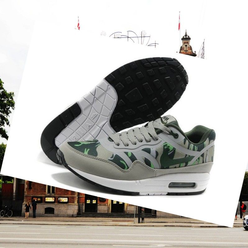 more photos 45638 bb077 Men Nike Air Max 1 Premium Tape Camo Mortar Vintage Green Mountain Grey  White