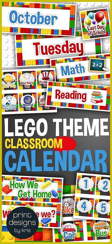 Classroom Calendar with Holidays Subjects Months Days in LEGO Theme Elementary school class calenda