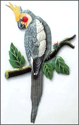 Photo of Metal Wall Art, Parrot, Cockatiel Parrot, Hand Painted Metal Wall Hanging, Tropical Decor, Haitian Art, Steel Drum Art – 10″ x 18″  K7045