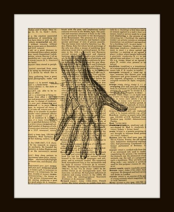 Art Print Anatomical Hand 8x10 Dictionary by UniqueArtPendants