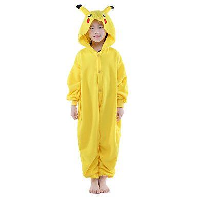Kigurumi Pijamas New Cosplay® / Pika Pika Malha Collant/Pijama Macacão Festival/Celebração Pijamas Animal Amarelo Cor Única Flanela de 1383205 2016 por €80.28