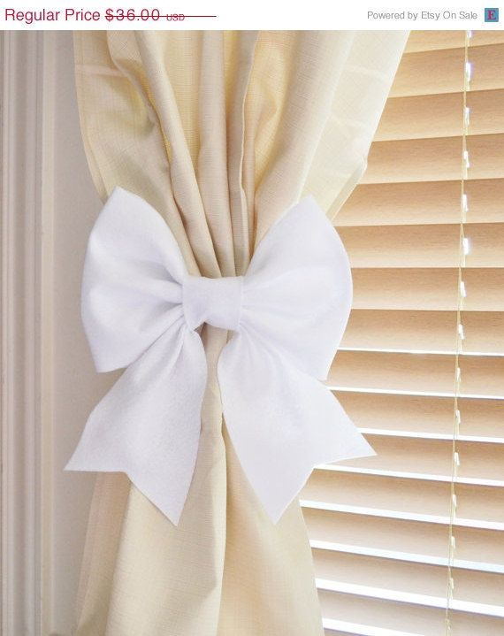New Years Sale Two White Bow Curtain Tie Backs By Bedbuggs