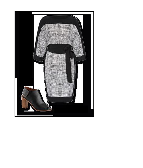 Kimonotyyppinen mekko ja sandaalit