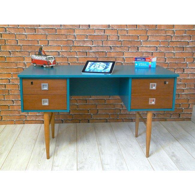 Bureau 1960 - 4 tiroirs Totalement Restauré avec Patience  Passion - Peindre Table De Chevet