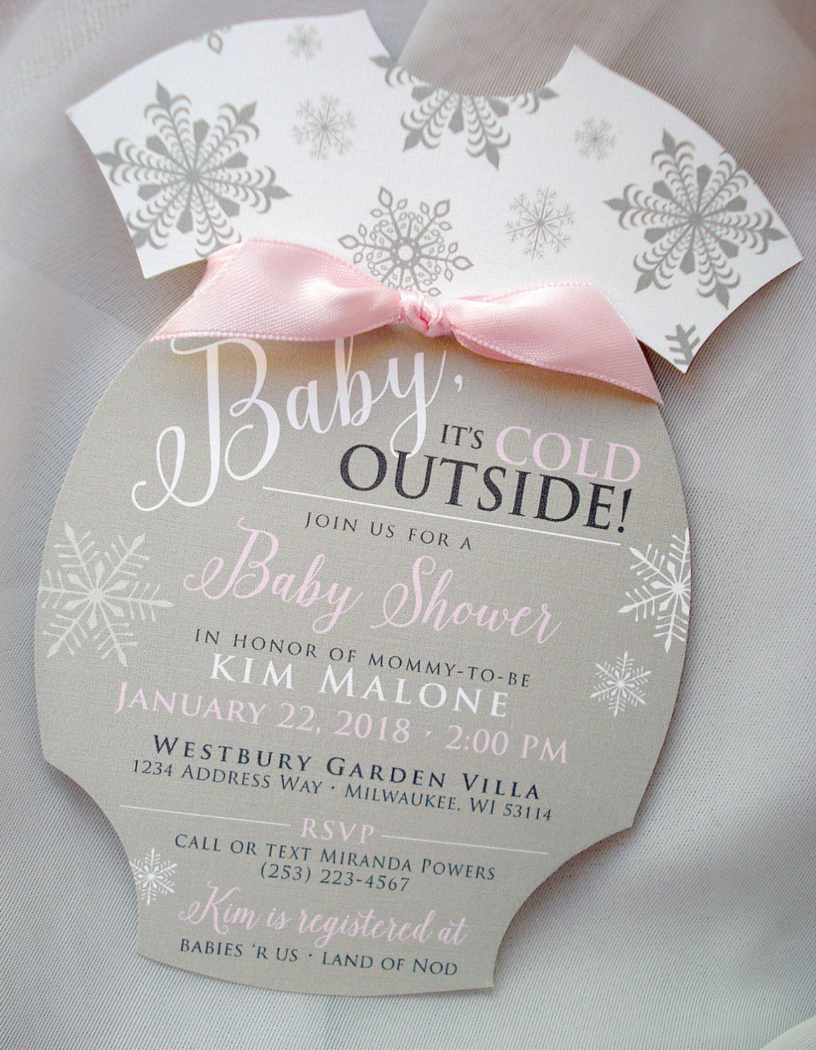 jungle theme baby shower invitation sayings%0A Baby It u    s Cold Outside Handcut Onesie Snowflake Baby Shower Invitation Set   Sample by envymarketing on