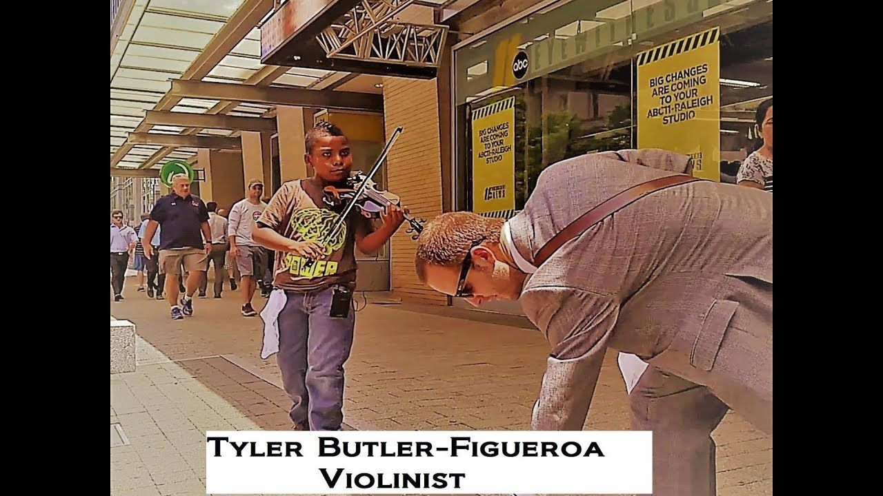 Amazing Child Street Performer 1st Time Busking Tyler Butler Figueroa Violinist Inspirational People Raleigh Nc