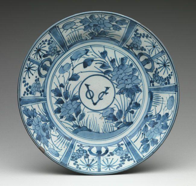 Plate With Monogram Of The Dutch East India Company Keramiek Blauw En Wit Antiek