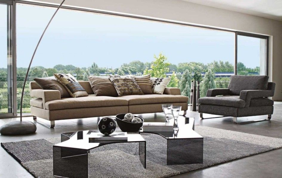 furniture modern open plan living room with brown sofa and black rh pinterest com