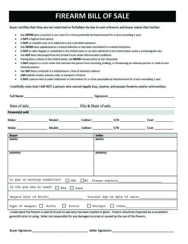 Free printable firearms bill of sale form download from gunwarrior. Pin On Templates