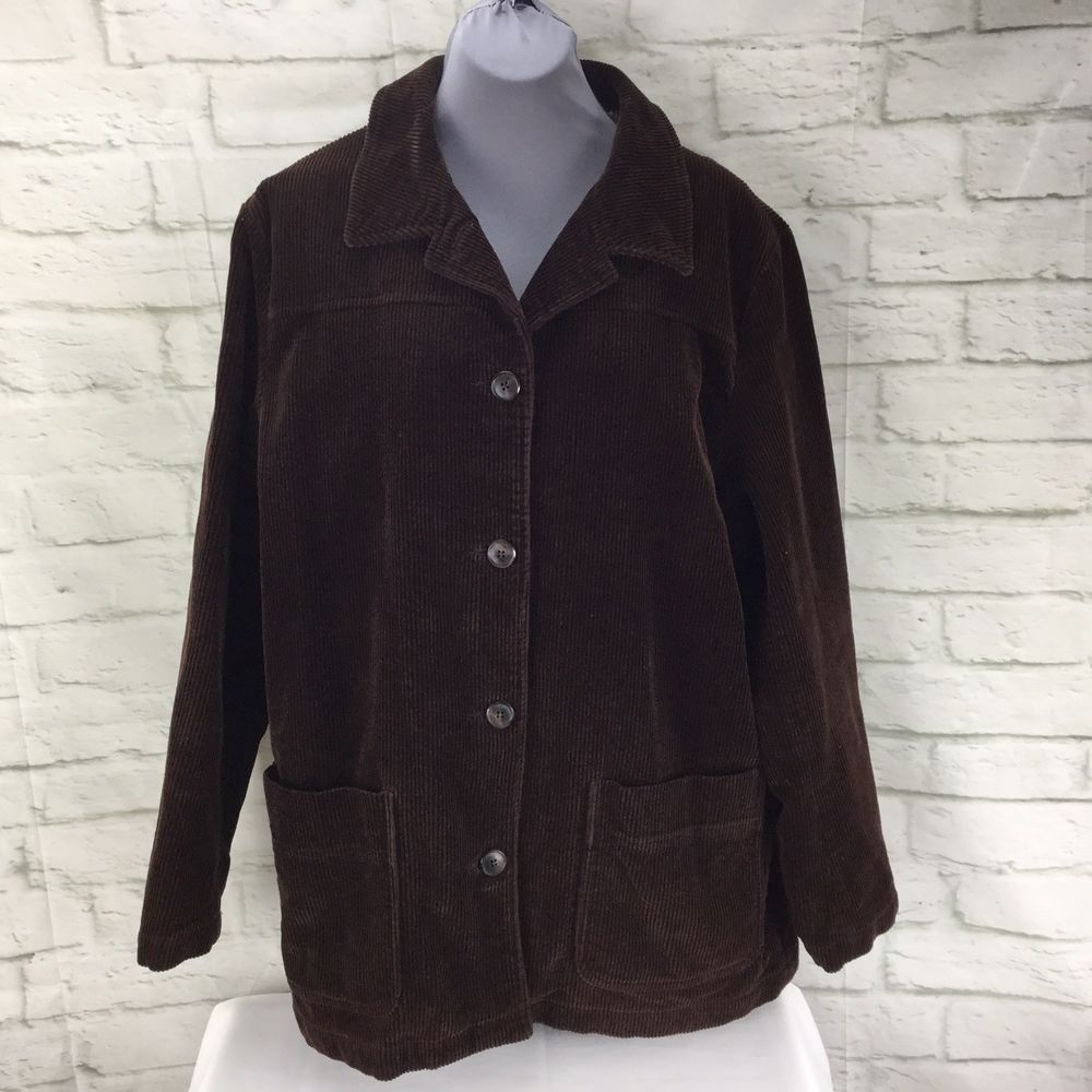 eddie bauer women s xl brown corduroy button front jacket coat rh pinterest com