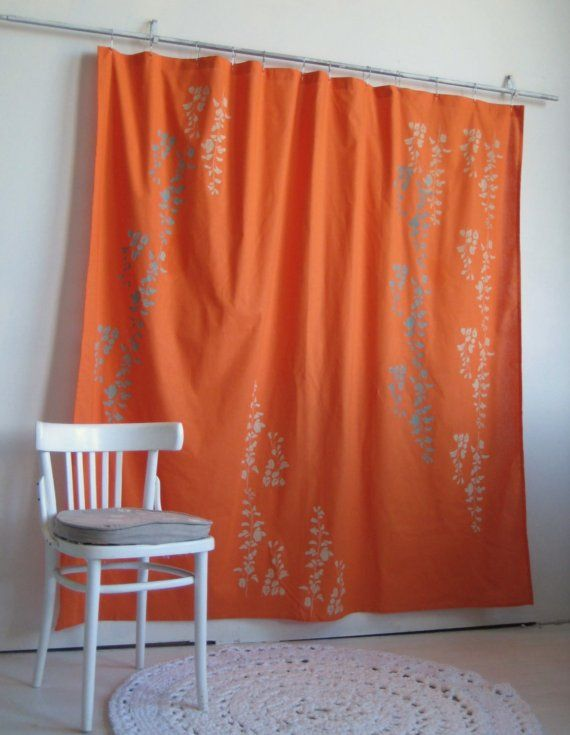 Bright Orange Shower Curtain With Wisteria Print