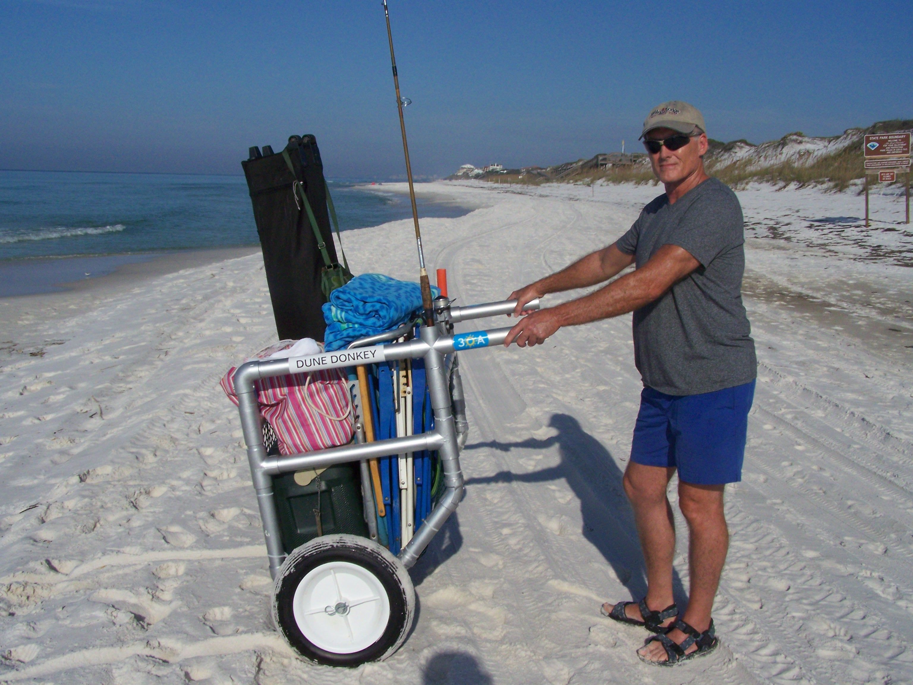 Beach chairs beach chair umbrella beach cart cabanas - That Salty Mike He Is Always Up To Something A Beach Cart That Will