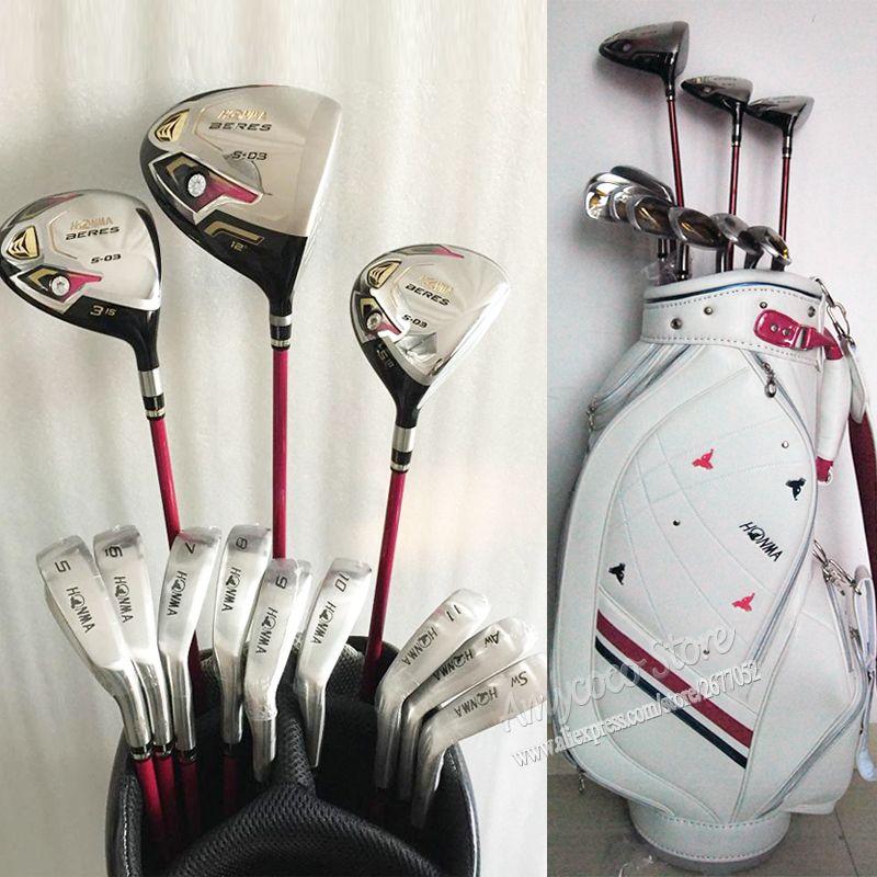 Nieuwe womens golfclubs honma s-03 compleet clubs set drive + fairway wood + ijzers + tas graphite golf shaft en headcover gratis verzending