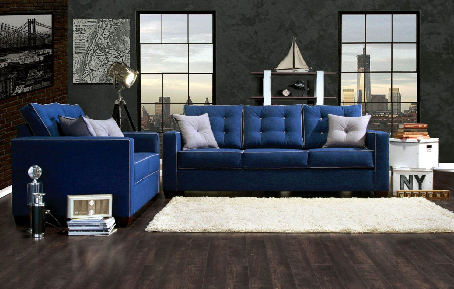 2016 Blue sofa A trendy and magical