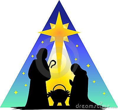 Nativity holy family. Silhouette clip art photos