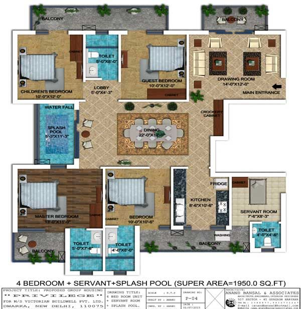 Floor plan of 4 Bedroom apartment with super area 1950 sq ...