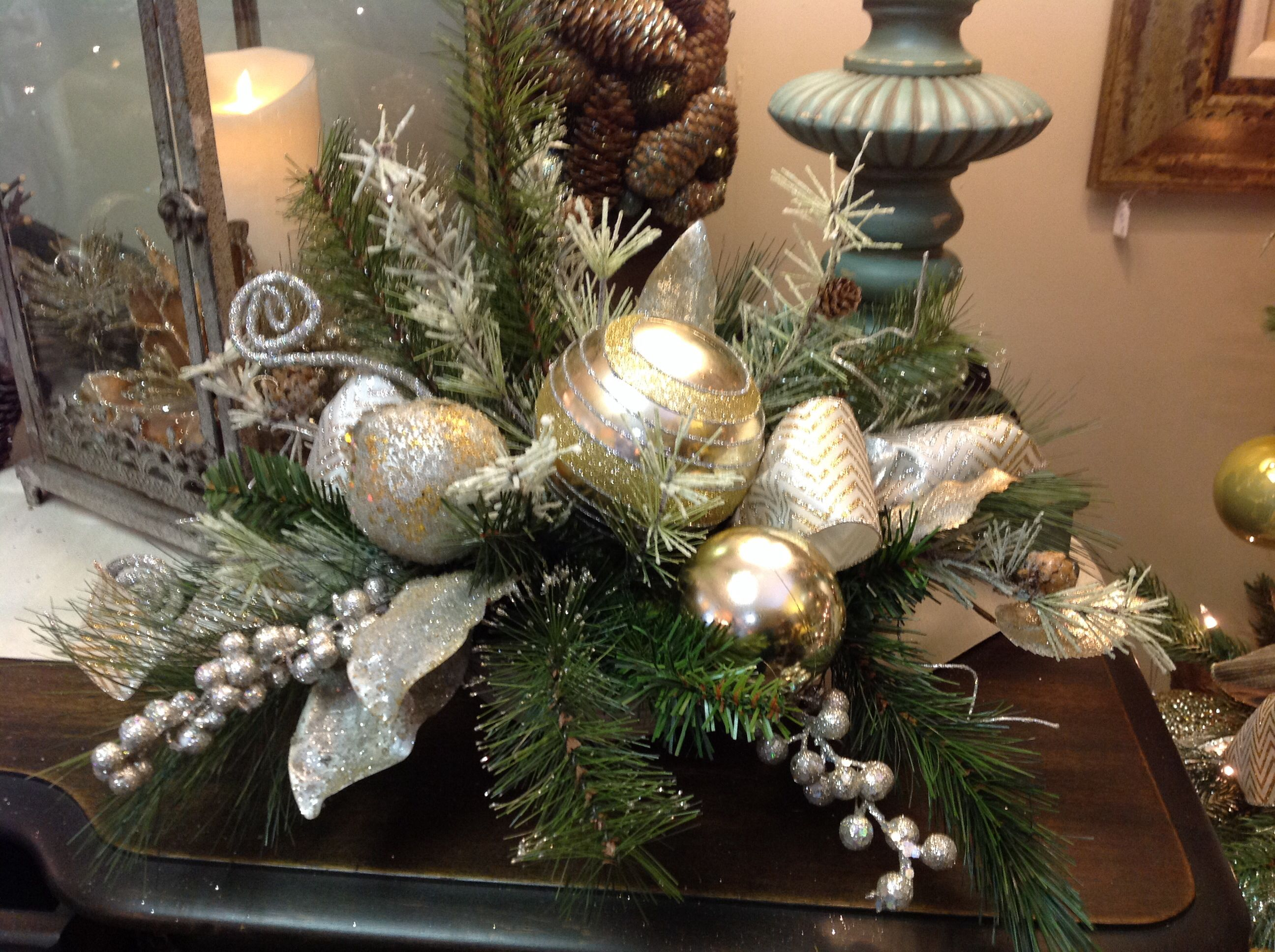 gold and silver floral arrangement for christmas decor christmas rh pinterest com