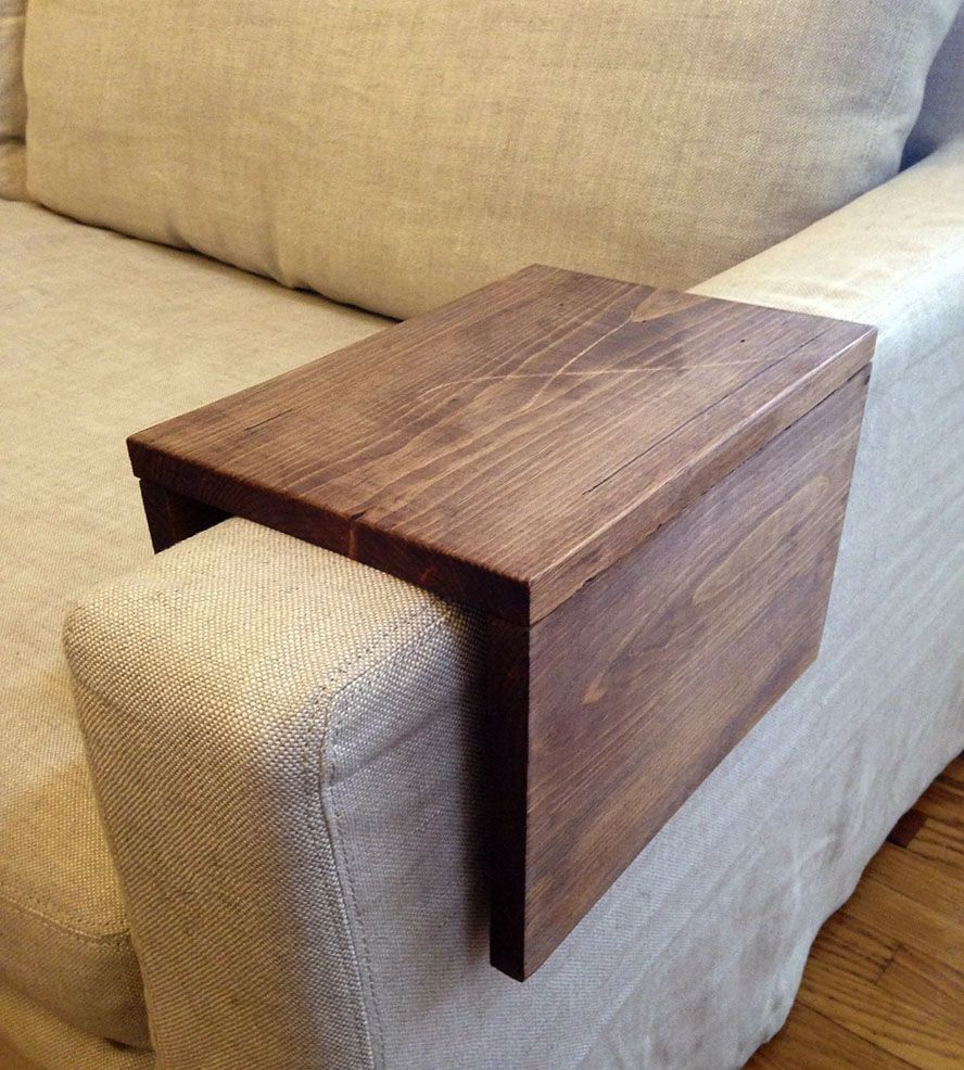 Sofa Armrest Table Reclaimed Wood Couch Arm Table Cuddling