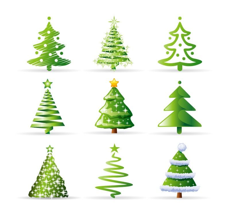 Christmas Tree 2d Shapes Cartoon Christmas Tree Christmas Vectors Christmas Tree Images