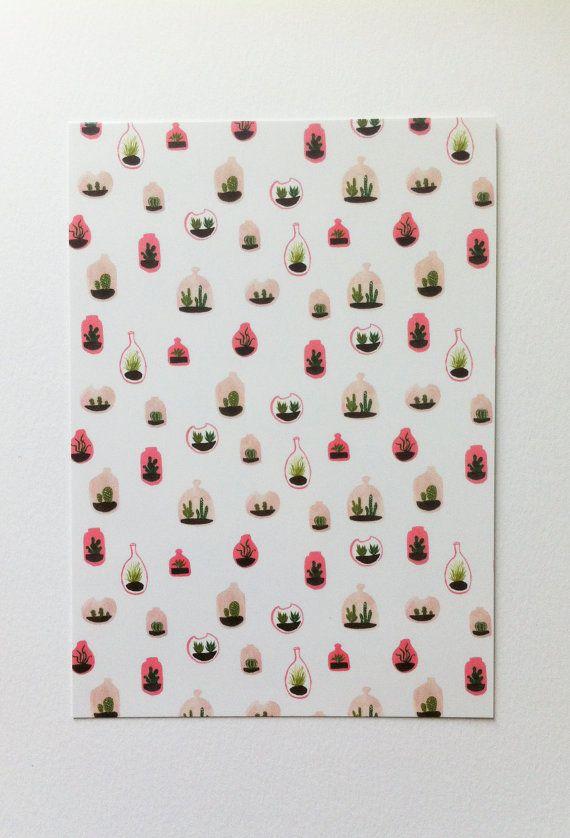 Pink Terrarium Pattern illustration / A6 por MayaBeeIllustrations