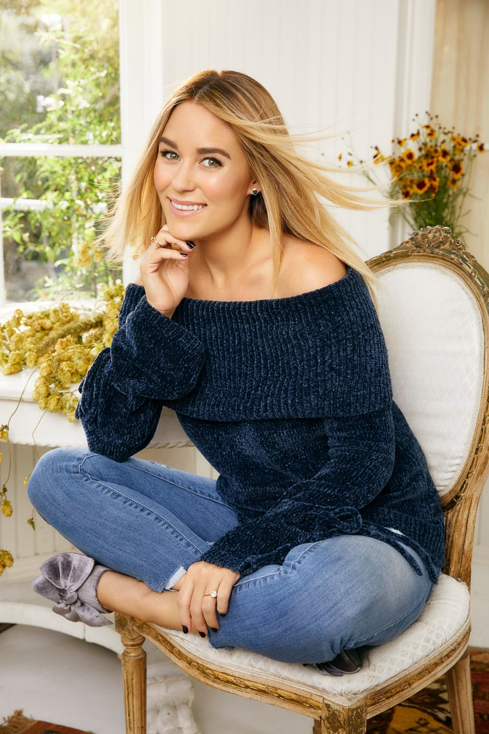 LC Lauren Conrad Ribbed OfftheShoulder Chenille Sweater