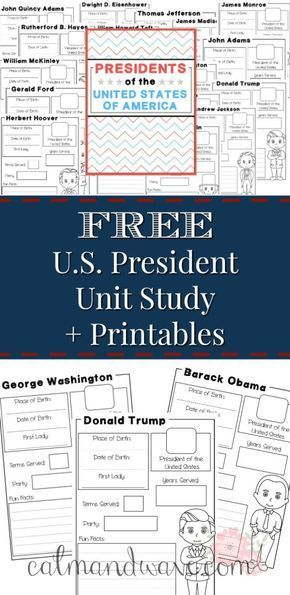 Homeschool Unit Study American Presidents | Social Studies | History | Free Printable | Calm & W #presidents