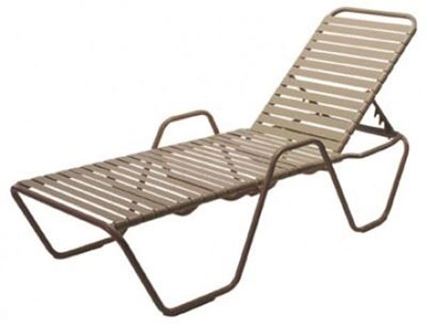 St Maarten Vinyl Strap Chaise Lounge With Arms And Aluminum Frame