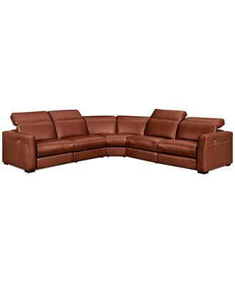 nicolo 5 piece leather reclining sectional sofa with 3 powered rh pinterest com