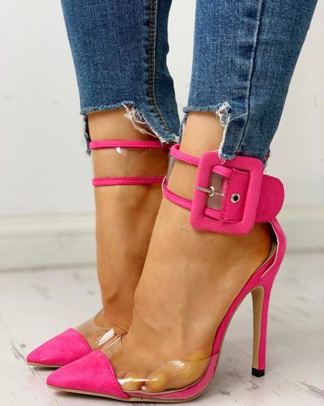 Pointed Toe Transparent Ankle Buckled Thin Heels #shoewedges