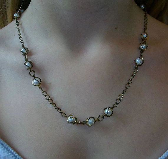 One-Of-A-Kind Recycled Pearl Look Necklace by TaylorsArtsAndCrafts