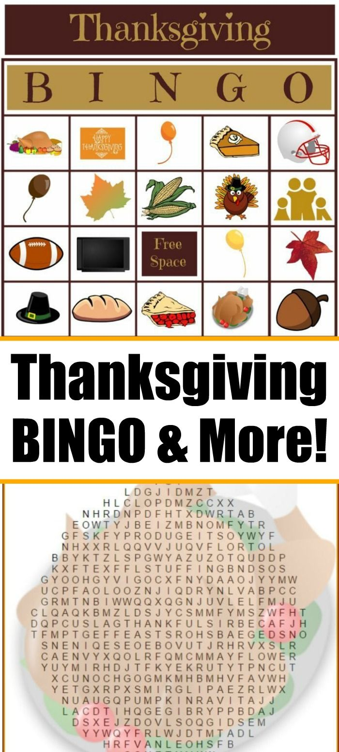 Free Thanksgiving Bingo game and more free printable everyone will love Great for all ages and perfect to keep them busy during the holidays