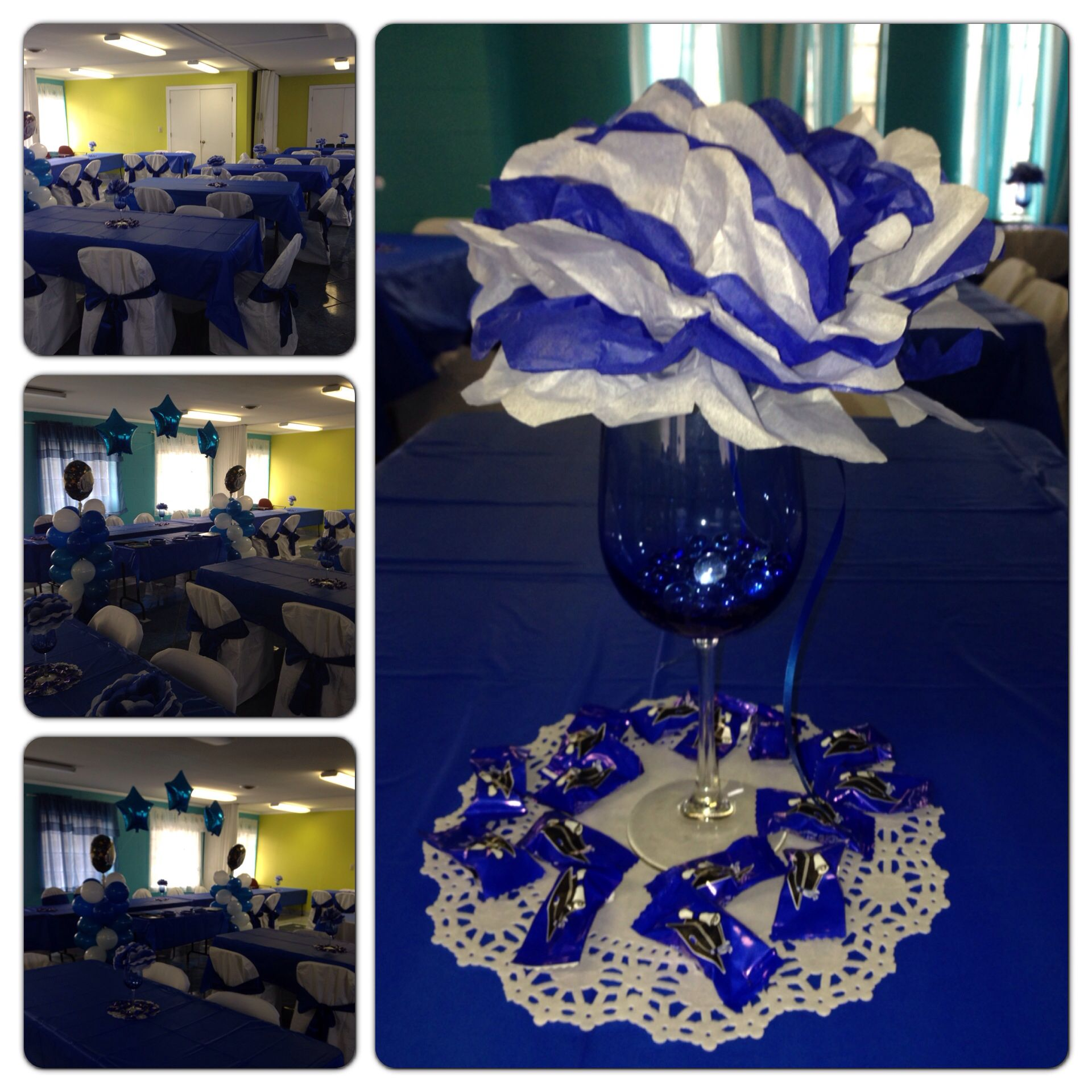graduation centerpiece royal blue and white wine goblet with paper rh pinterest com