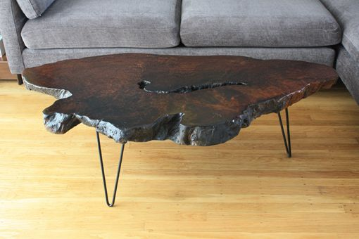 Burl Wood Slab Coffee Table With Three Hairpin Legs. I Need To Have This  Done
