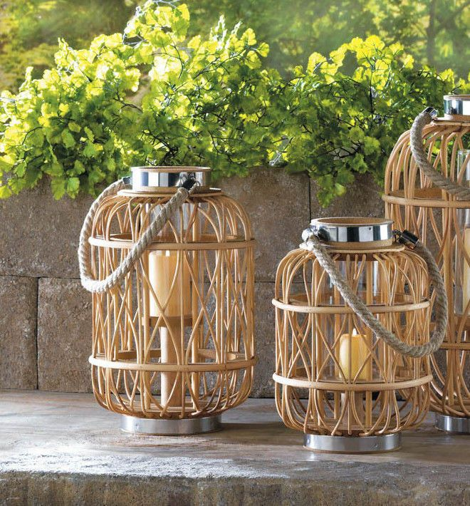 Rustic Woven Bamboo Rattan Basket Wood Cage Net Glass