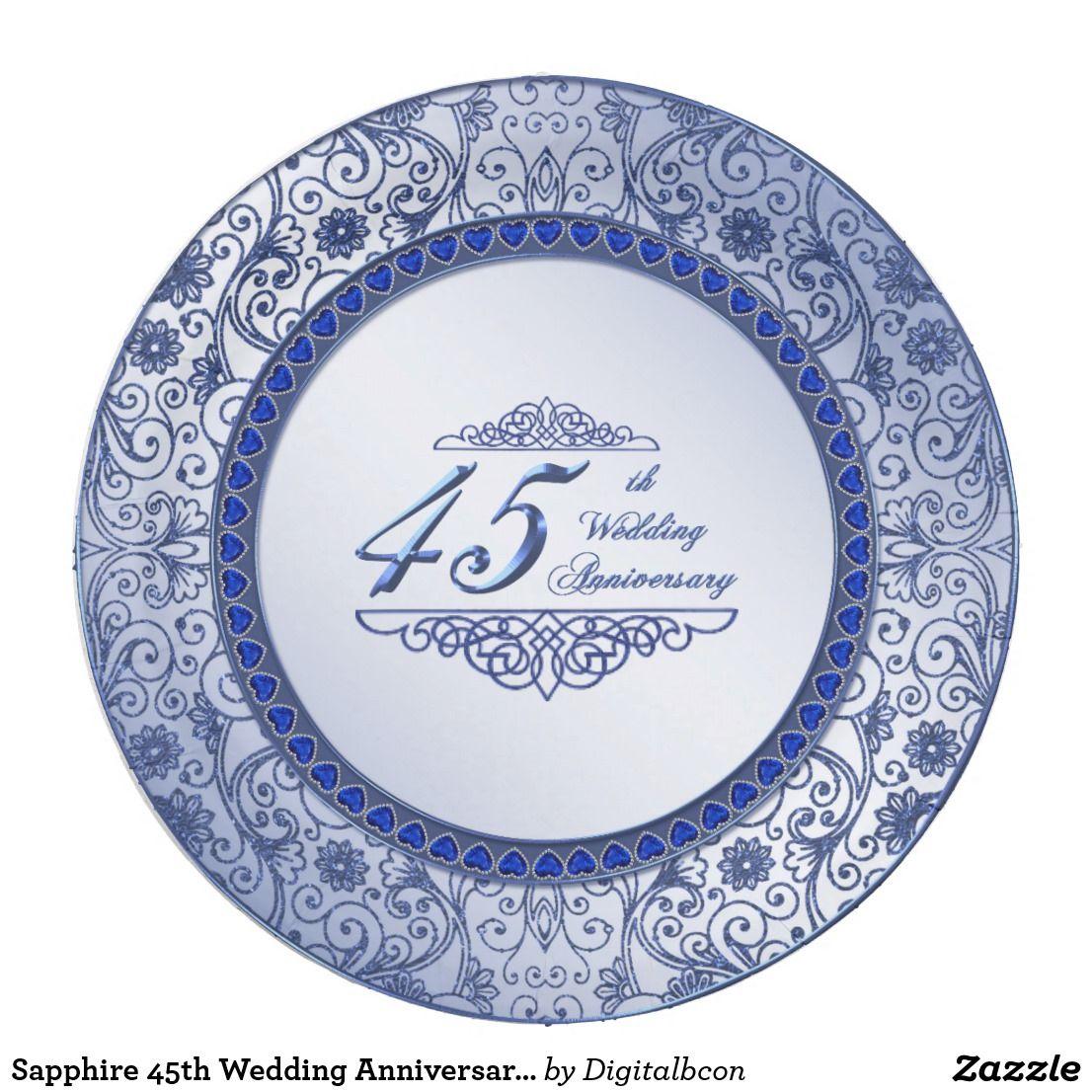 Sapphire 45th Wedding Anniversary Paper Plate 45th