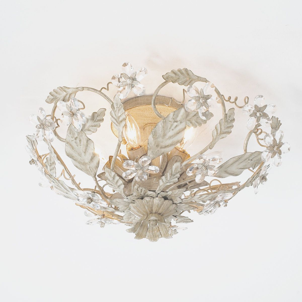 Crystal Flowers Ceiling Light Antique White