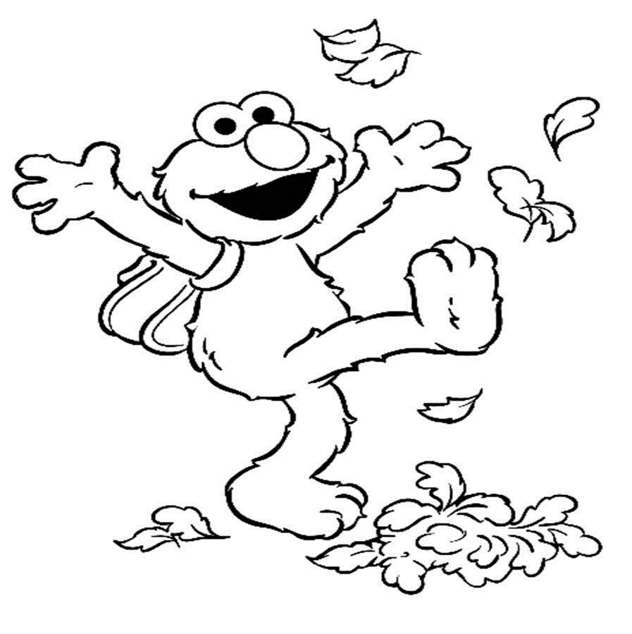 Elmo Kicking Foliage   Elmo Coloring Pages   Pinterest ...