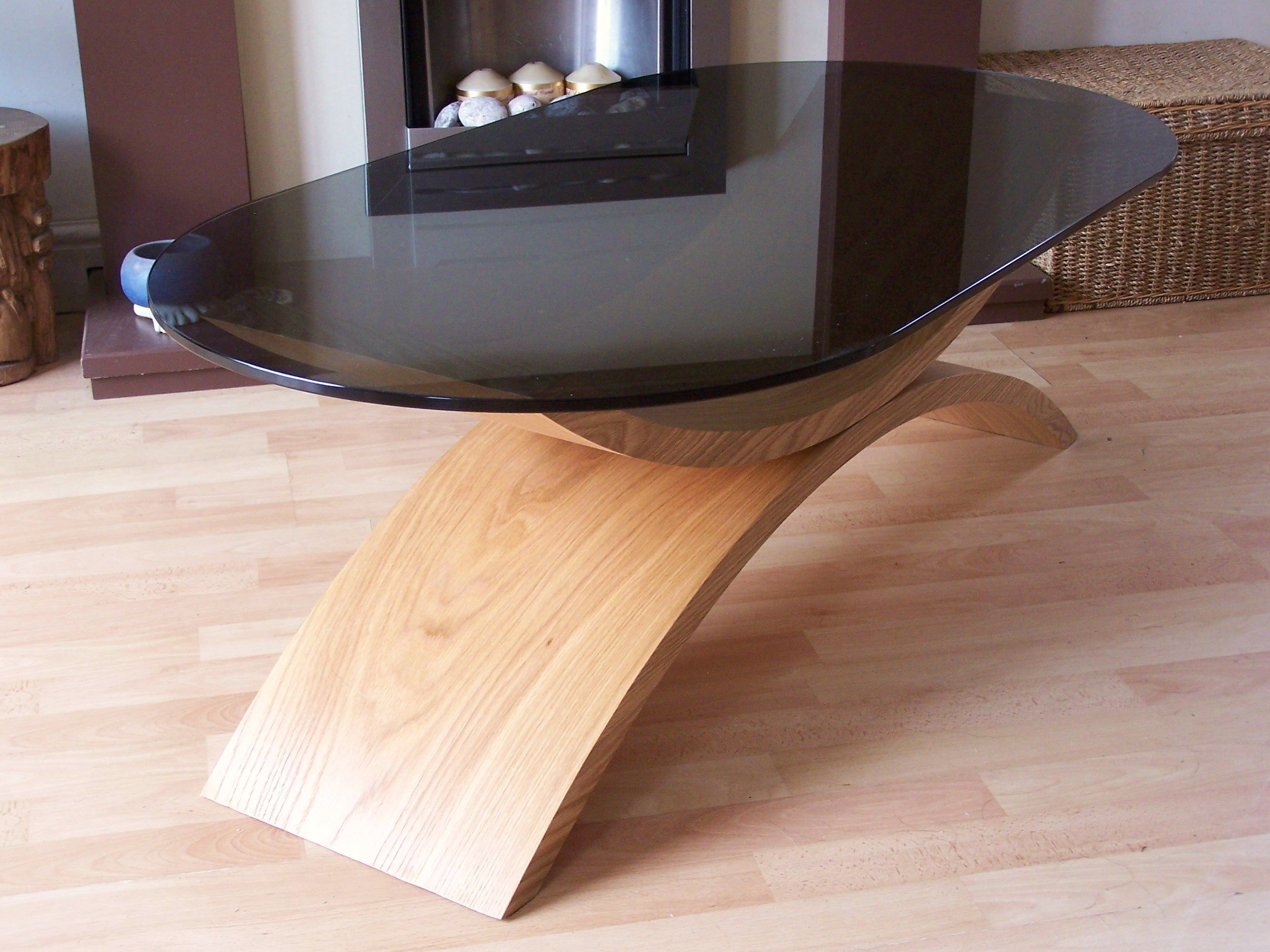 Curved wood coffee table contemporary design smoked glass top curved wood coffee table contemporary design smoked glass top perfect for your living geotapseo Images