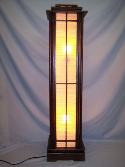 Teak Asian Style Tower Light