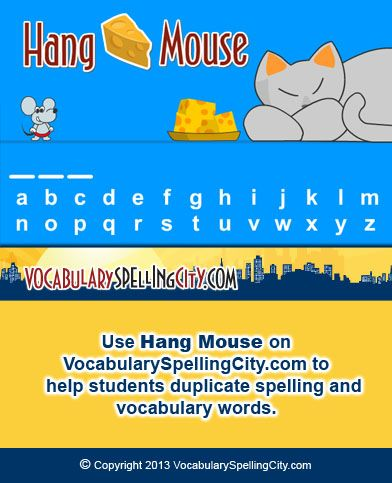 Use HangMouse on VocabularySpellingCity to help students - duplicate order form