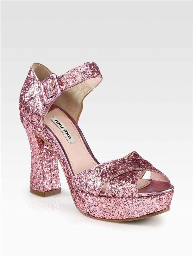 Miu Miu Pink Glitter Platform Heel sz 36.5 6.5 Strappy Sandal Shoe ...