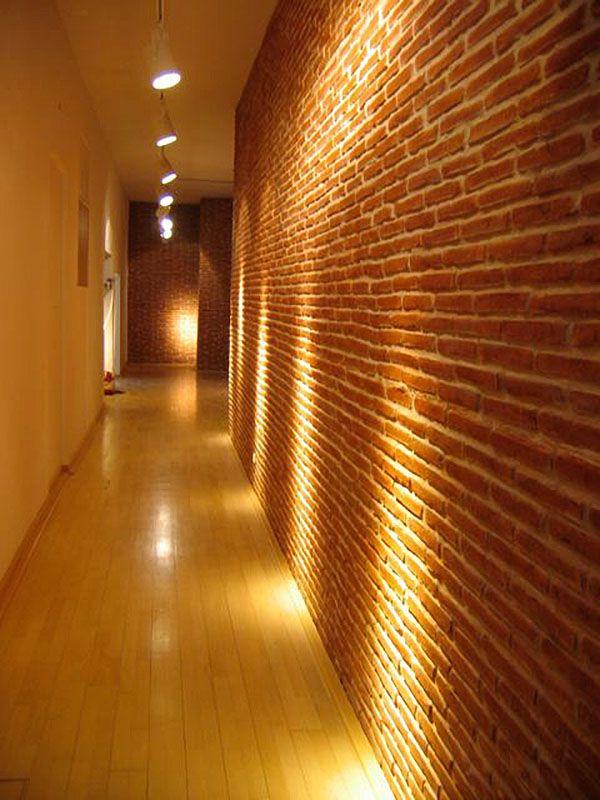 Wand mit Backstein Optik ladrillo rojo Wandgestaltung Wohnzimmer - wandgestaltung wohnzimmer orange