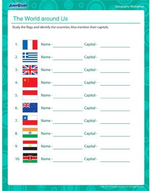 The World Around Us Geography Worksheet For Fifth Grade