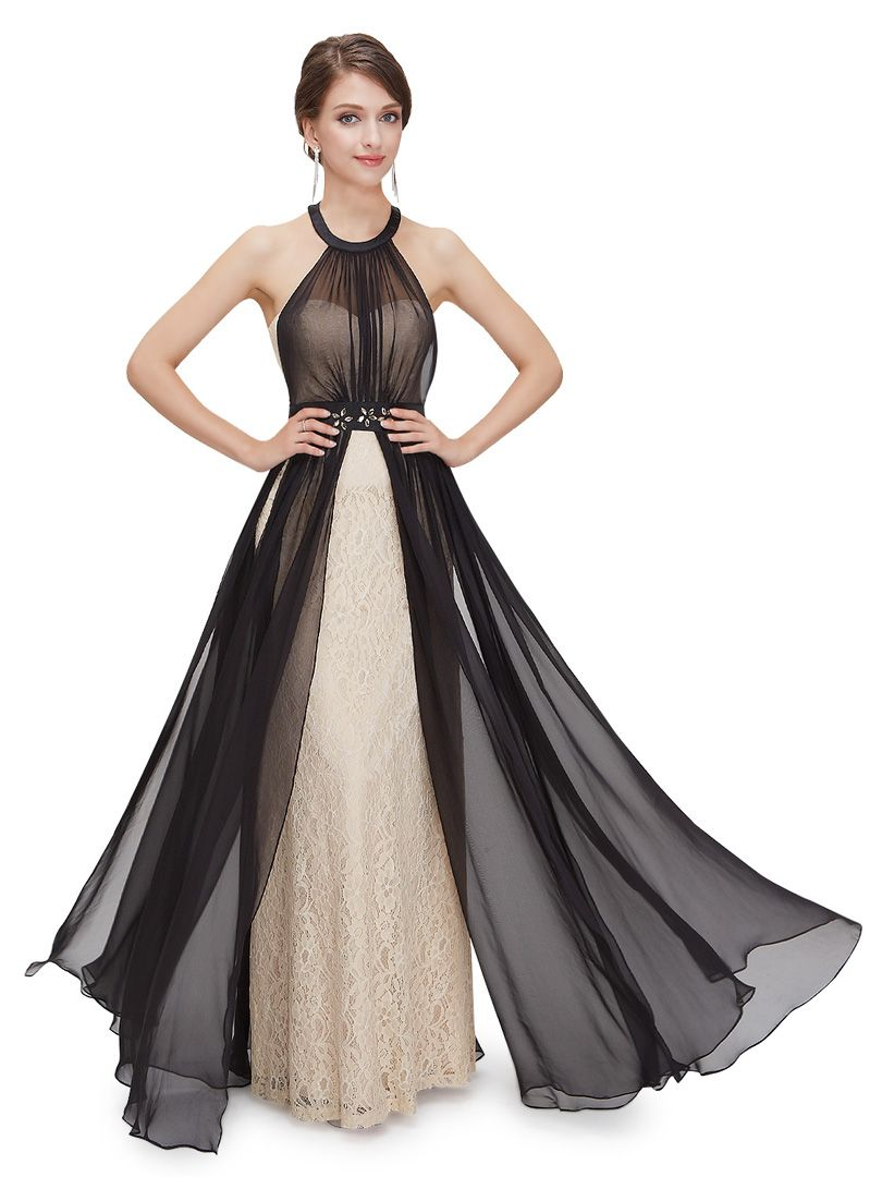 Sheer halter lace maxi dress